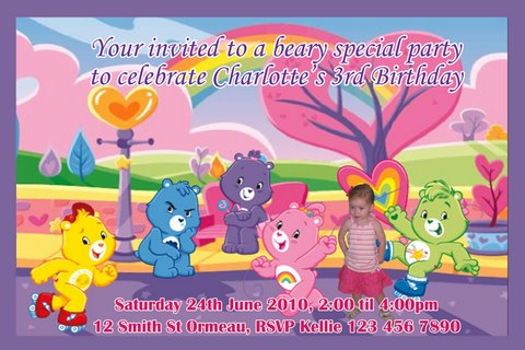 Chaarkell Designs personalised invitations for your party – Care Bear Birthday Invitations